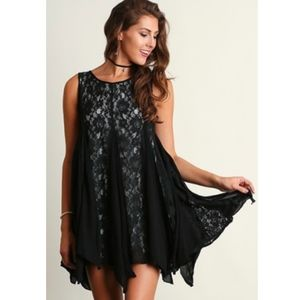 Sleeveless Ruffles and Lace Swing Dress